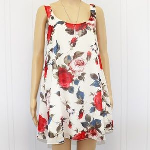 Tobi Floral Short Dress Sleeveless lining Sz S/P